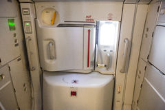 Airbus A380 airplane inside exit door Stock Images