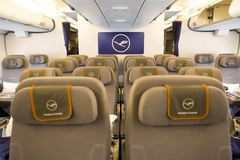 Airbus A380 airplane inside seats Royalty Free Stock Photo