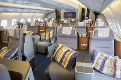 Airbus A380 airplane inside seats Royalty Free Stock Images