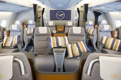Airbus A380 airplane inside. Sofia, Bulgaria - October 16, 2016: The inside of Lufthansa Airbus A380 airplane. The Airbus A380 is a double-deck, wide-body, four Royalty Free Stock Image
