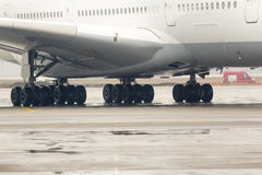 Airbus A380 airplane tires Royalty Free Stock Photography