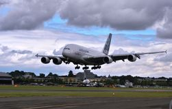 Airbus A380. Amazing shot of the Airbus A380 coming in to land at Farnborough Airshow Stock Photography