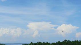 Airbus 320 approaching before landing at Phuket airport stock footage