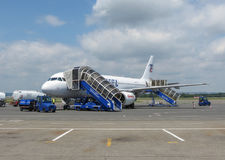 Airbus A320 boarding in Ostrava Royalty Free Stock Photos
