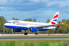 Airbus a319 British airways, aeroporto Pulkovo, Rússia St Petersburg outubro de 2015 Imagens de Stock