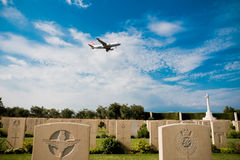 Airbus on British military memorial in sicily. Picture useful for Commemorative events of world war II . Allied landing in Sicily for Husky operation Royalty Free Stock Image
