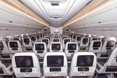 Airbus A350 cabin. PARIS - JUN 18, 2015: Cabin view of a Qatar Airways Airbus A350. Qatar Airways is the first user of the A350 with it's first flight on 15 Royalty Free Stock Photo