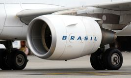 Airbus A321 CFM56-5B engine at GRU royalty free stock images
