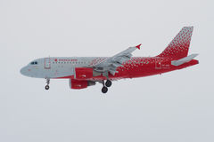 Airbus A319-112 `Chelyabinsk` VP-BIS of `Rossiya` airline on a glide path close-up. ST. PETERSBURG, RUSSIA - ST. PETERSBURG, RUSSIA - FEBRUARY 25, 2017: Airbus Stock Image