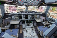 Airbus A380 cockpit. PARIS - JUN 18, 2015: Airbus A380 cockpit. The A380 is the largest passenger airliner in the world Stock Photo