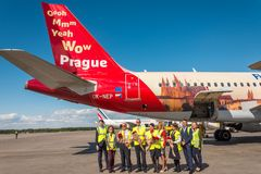 Airbus A319 of Czech Airlines livery - Fly to the City of Magic, airport Pulkovo, Russia Saint-Petersburg. 04 June 2018. Airbus A319 of Czech Airlines livery Stock Image