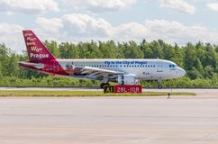 Airbus A319 of Czech Airlines livery - Fly to the City of Magic, airport Pulkovo, Russia Saint-Petersburg. 04 June 2018. Airbus A319 of Czech Airlines livery Stock Images