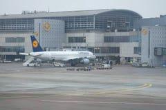 Airbus A320-214 D-AIZD von Lufthansa am Flughafen in Frankfurt Lizenzfreie Stockfotografie