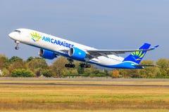 Airbus A350 da aria Caraibes immagini stock