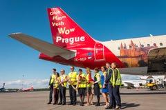 Airbus A319 da libré de Czech Airlines - voe à cidade da mágica, aeroporto Pulkovo, Rússia St Petersburg 4 de junho de 2018 Fotos de Stock Royalty Free