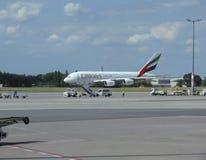 Airbus A380 das linhas aéreas dos emirados Foto de Stock Royalty Free