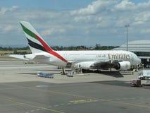 Airbus A380 das linhas aéreas dos emirados Foto de Stock