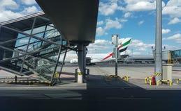 Airbus A380 das linhas aéreas dos emirados em Praga Fotografia de Stock