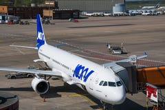 Airbus A321 de Joon, uma subsidiária de Air France, no aeroporto de Berlin Tegel Fotografia de Stock
