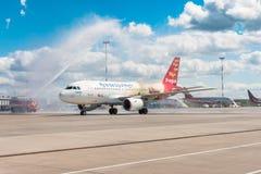 Airbus A319 de la librea de Czech Airlines - vuele a la ciudad de la magia, aeropuerto Pulkovo, Rusia St Petersburg r Fotografía de archivo