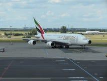Airbus A380 de las líneas aéreas de los emiratos Imagen de archivo