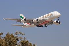 Airbus A380 de los emiratos Fotos de archivo libres de regalías