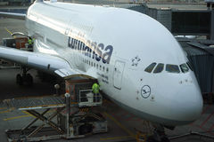 Airbus A380 de Lufthansa Fotos de Stock