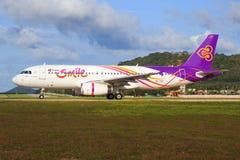 Airbus A320 de sourire thaïlandais Photos stock