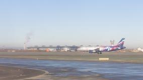 Airbus A-320 del club del fútbol de CSKA en el aeropuerto de Sheremetyevo, Foto de archivo