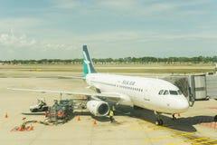 Airbus A319 di aria di seta immagine stock