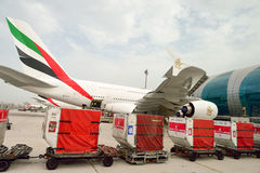 Airbus A380 docked in Dubai airport Stock Photos