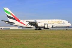 Airbus A380 dos emirados Imagens de Stock Royalty Free