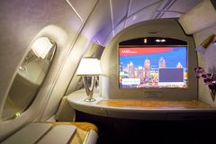 Airbus A380. DUBAI, UAE - MARCH 31, 2015: interior of Emirates Airbus A380. Emirates is one of two flag carriers of the United Arab Emirates along with Etihad Royalty Free Stock Photo