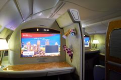 Airbus A380. DUBAI, UAE - MARCH 31, 2015: interior of Emirates Airbus A380. Emirates is one of two flag carriers of the United Arab Emirates along with Etihad Stock Photo