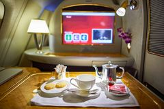 Airbus A380. DUBAI, UAE - MARCH 31, 2015: interior of Emirates Airbus A380. Emirates is one of two flag carriers of the United Arab Emirates along with Etihad Stock Image