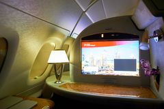 Airbus A380. DUBAI, UAE - MARCH 31, 2015: interior of Emirates Airbus A380. Emirates is one of two flag carriers of the United Arab Emirates along with Etihad Stock Images