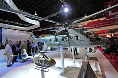 Airbus EC725 Caracal multi-role helicopter model on display at Singapore Airshow Stock Images