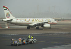 The Airbus A318-321 ( A6-EIM) prior to departure. The Airport of Abu Dhabi Royalty Free Stock Image