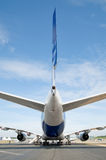 Passenger jet. Tail and rudder ailerons of a large passenger jet Stock Photo