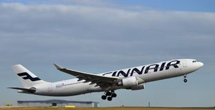 Airbus A321. Finnair Airbus A321 taking off at Helsinki Airport Finland Royalty Free Stock Photography