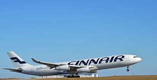Airbus A340-300. Finnair Airbus A340-300 taking off at Helsinki Airport Finland Stock Photos