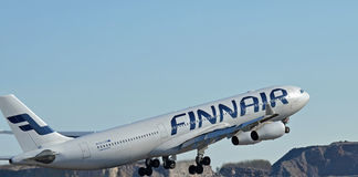 Airbus A340-300. Finnair Airbus A340-300 taking off at Helsinki Airport Finland Royalty Free Stock Photography