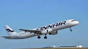 Airbus A320. Finnair Airbus A320 taking off at Helsinki Airport Finland Stock Images