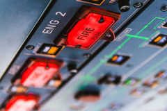 Airbus A320 Fire pushbuttons and warning lights Stock Photography