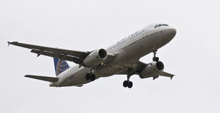 An Airbus A320, Flaps and Landing Gear Down Stock Photos