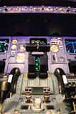 Airbus flight deck. Airbus A320 flight deck, close up of  throttle levers Stock Photos