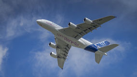 Airbus A380 in flight Stock Images