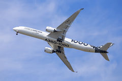 Airbus A350-1000. Flying a demonstration flight at the 2017 Paris Air Show at le Bourget, France royalty free stock image