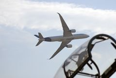 Airbus A350 flying at MAKS International Aerospace Salon Stock Images