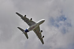 Airbus A380 on flypast at a UK airshow Royalty Free Stock Photography